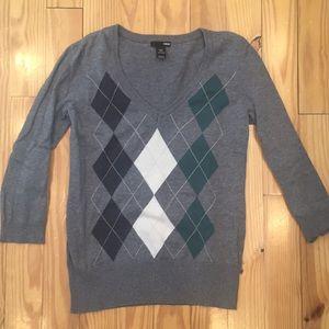 H&M Gray Argyle Sweater